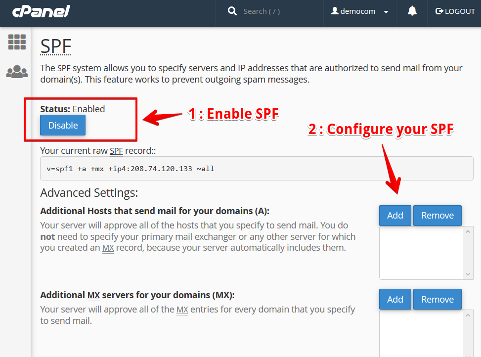 Configure your SPF on cPanel 76