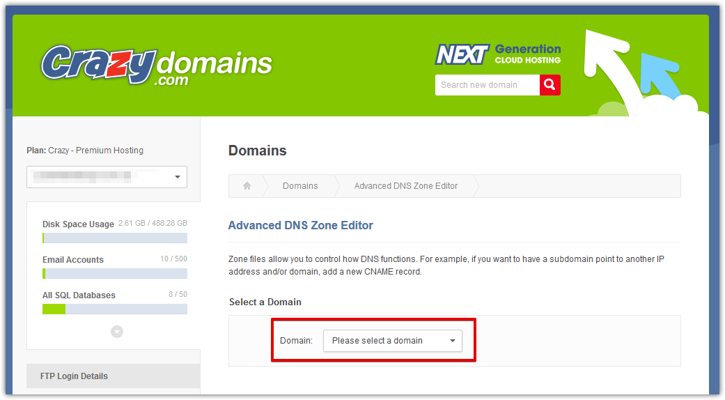 Select Crazy Domains domain