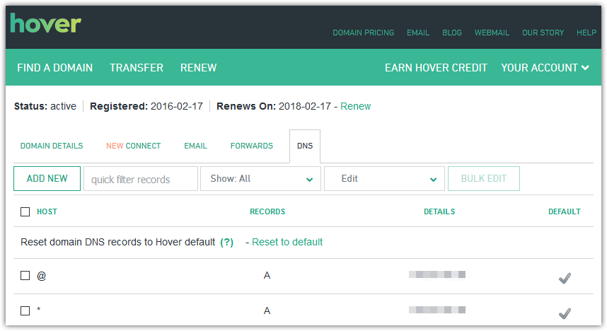 How to access Hover DNS records