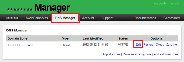 How to access Linode DNS zone editor