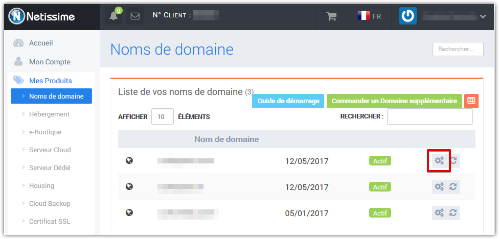 Netissime domain configuration