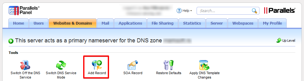 Add DNS record on Parallels Plesk Panel
