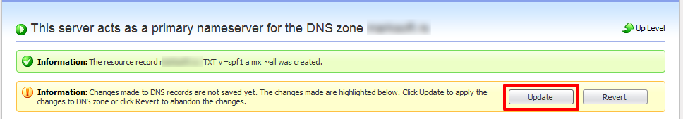 Apply DNS modification on Parallels Plesk Panel