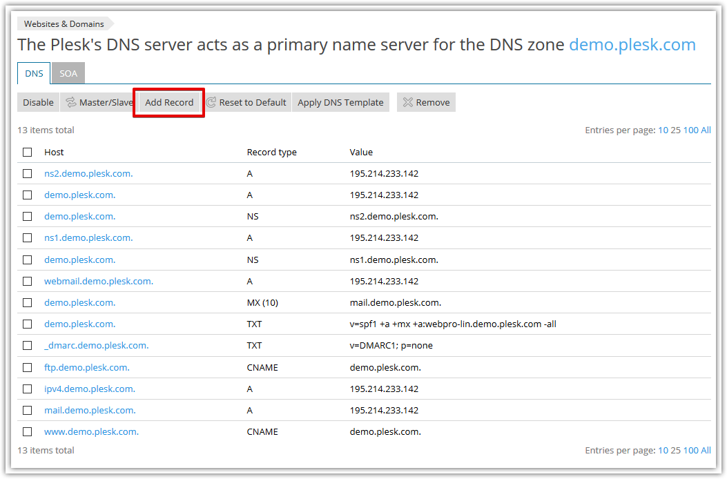 Add DNS record on Plesk Onyx