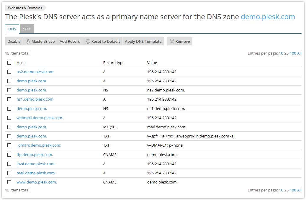 Plesk Onyx DNS interface