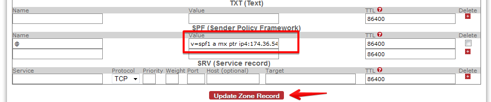 SoftLayer DNS zone editor interface