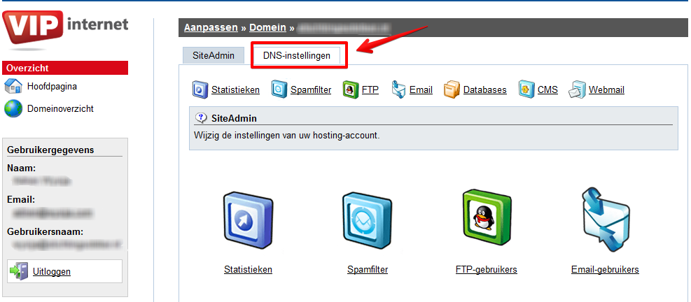 How to access vip.nl DNS zone editor